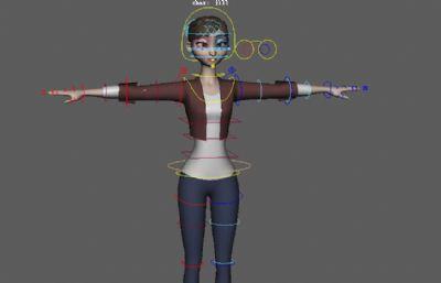 jill女孩,�Ы�定的Maya模型