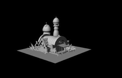 卡通小房子,蘑菇屋maya模型