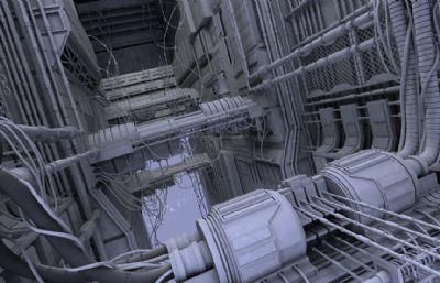 大型科幻���C械�鼍�maya模型