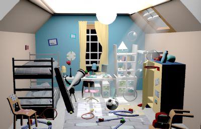 高?#25512;?#20799;童房maya模型