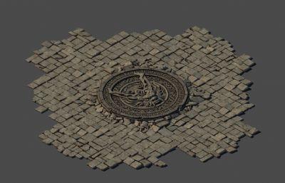 龙头雕刻地砖,地面装饰,石头花纹地砖max模型