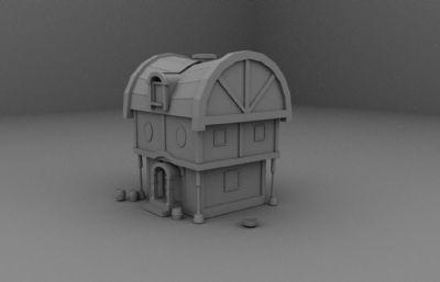 卡通小木房子maya模型