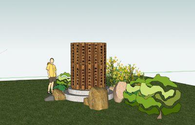 中式公园屈原离骚题字木竹雕塑景观小品su模型