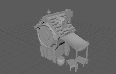 Q版酒馆,酒桶房子maya模型