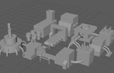 工厂机械装置maya模型