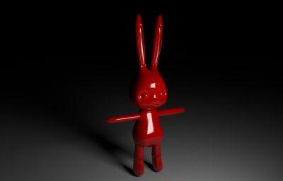 红色卡通长耳朵小兔兔子maya模型,有材质,无贴图
