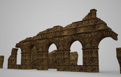 古建破�f的����建筑3D模型