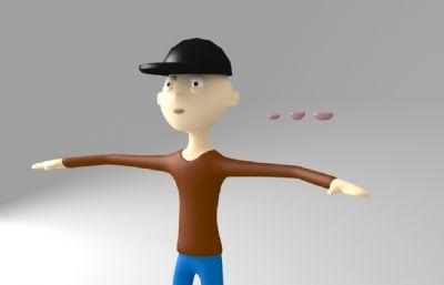 卡通黑帽小哥人物模型,已绑定 BIPED
