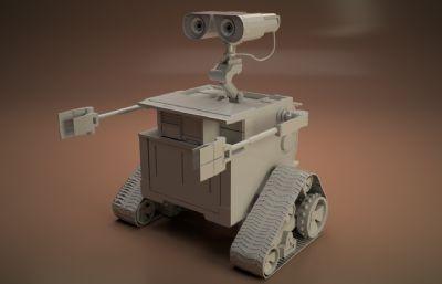 瓦力 WALL-E 3D模型,max白模