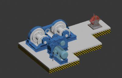 双轴卷扬机3D模型