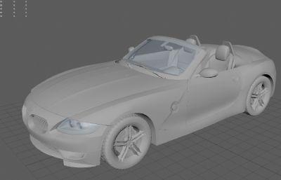 宝马Z4敞篷版精细模型,OBJ格式