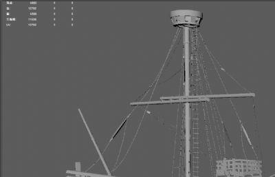 卡通船,未�旆�的船OBJ模型
