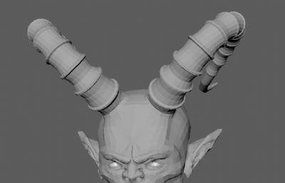 恶魔头像,雕像OBJ模型