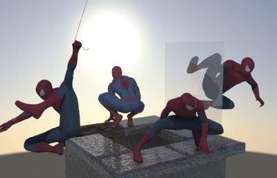 蜘蛛�b四�Npose�M合�鼍�maya模型,���蜘蛛�bPOSE都有FBX模型文件