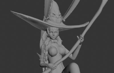 高精度卡通�P腿坐姿巫女OBJ,STL模型,可3D打印