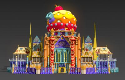 游乐场卡通彩色城堡建筑maya模型,MB,FBX,OBJ三种格式,带顶部甜点球转动动画