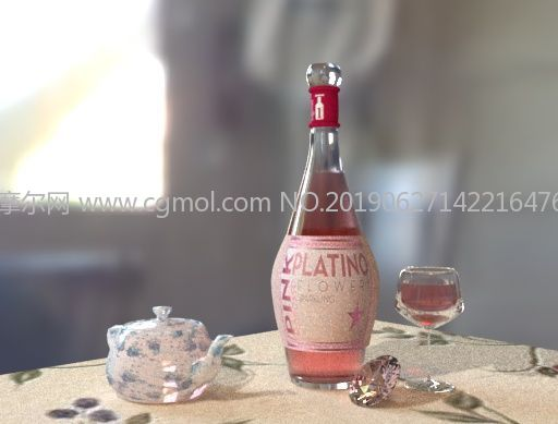 酒瓶�t酒水�劂@石�o物maya模型
