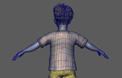 �C�^�l卷毛男孩,短�刺�^男孩maya模型