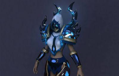 精致炫酷盔甲女战士,女巫,祭司maya模型