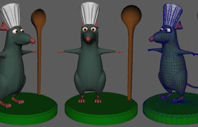 料理鼠王主角之一老鼠小米,�N王maya模型