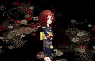 和服���L女孩,日式小�耗аb扮max模型