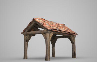 破烂的亭子,木亭子3D模型