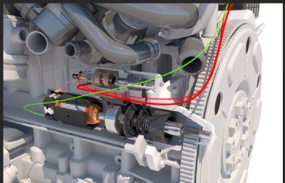 带发动机的起动系统完整模型,包括启动按钮,蓄电池,起动机,起动机可剖切,有内部结构,有30帧动画