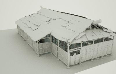 象棚,牛棚,�R棚,�i圈,�R圈,羊圈,牲畜圈C4D模型(�群�c4d,fbx,maya文件)