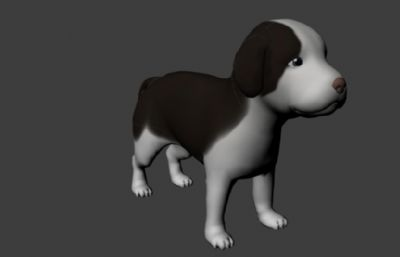 无毛发,有毛发?#25945;?#36148;图的maya小狗模型
