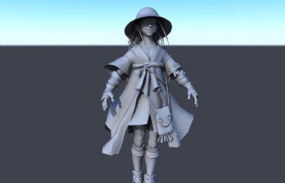 微笑草帽女孩法��maya模型
