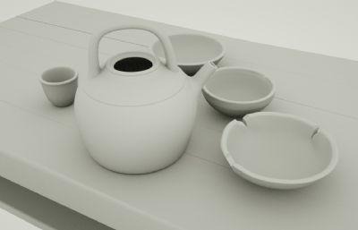 木桌椅大碗茶,陶瓷茶具(�群�C4D,fbx,maya文件)