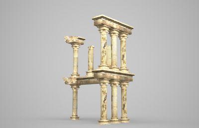 破��的古代柱子3D模型