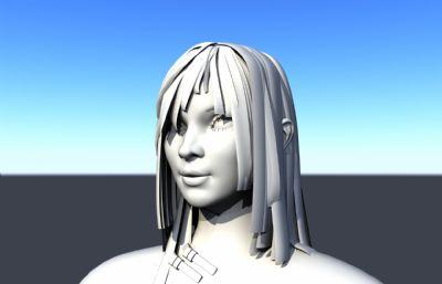 短�l民���r期女孩Maya模型