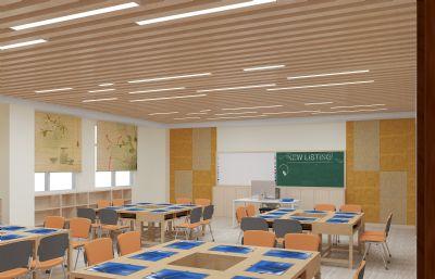 美术室,专业教室,电子绘画室max模型