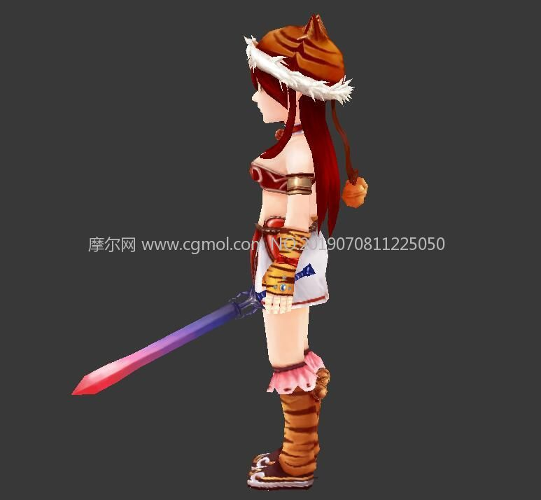 圣诞节虎皮装小女孩剑士max游戏简模