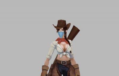 西部女牛仔,美女枪手,带待机,行走,攻击,死亡,被攻击等动作
