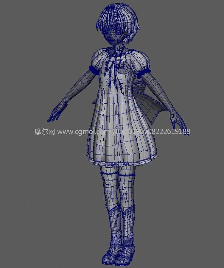卡通动漫风大蝴蝶结长裙女孩maya模型