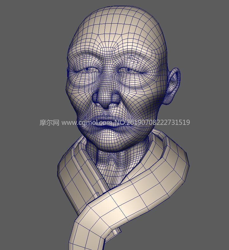 日本老�^,光�^和尚�^部Maya模型