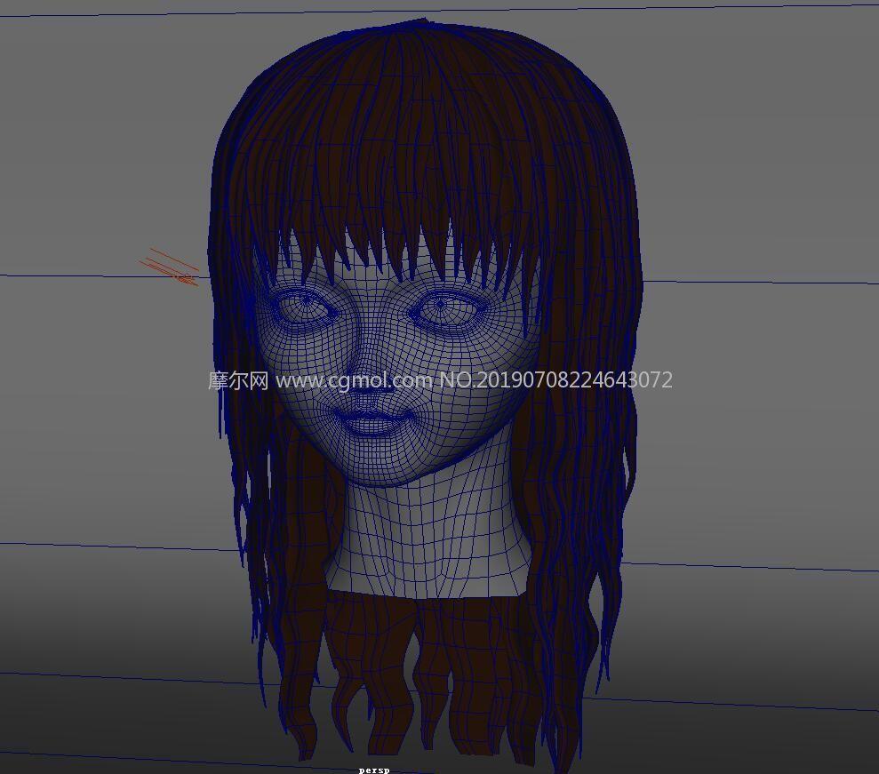 卡通女孩,美发店发型模特Maya模型