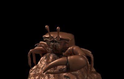 高精度螃蟹,礁蟹,可3D打印,max,stl,obj格式三�N格式(�W�P下�d)