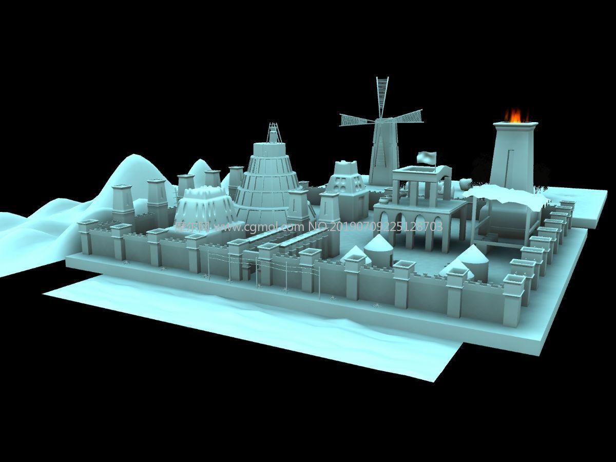 带风车的城墙内部场景Maya模型,有风车转动动画