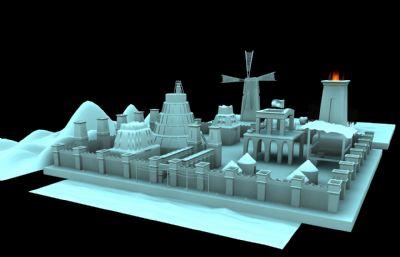 �эL�的城��炔�鼍�Maya模型,有�L��D��赢�