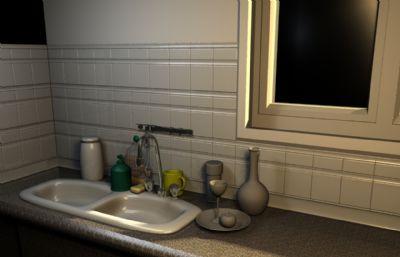 �N房洗菜槽角落�鼍�maya模型,有材�|