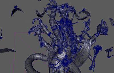 蛇女祭司高模Maya模型