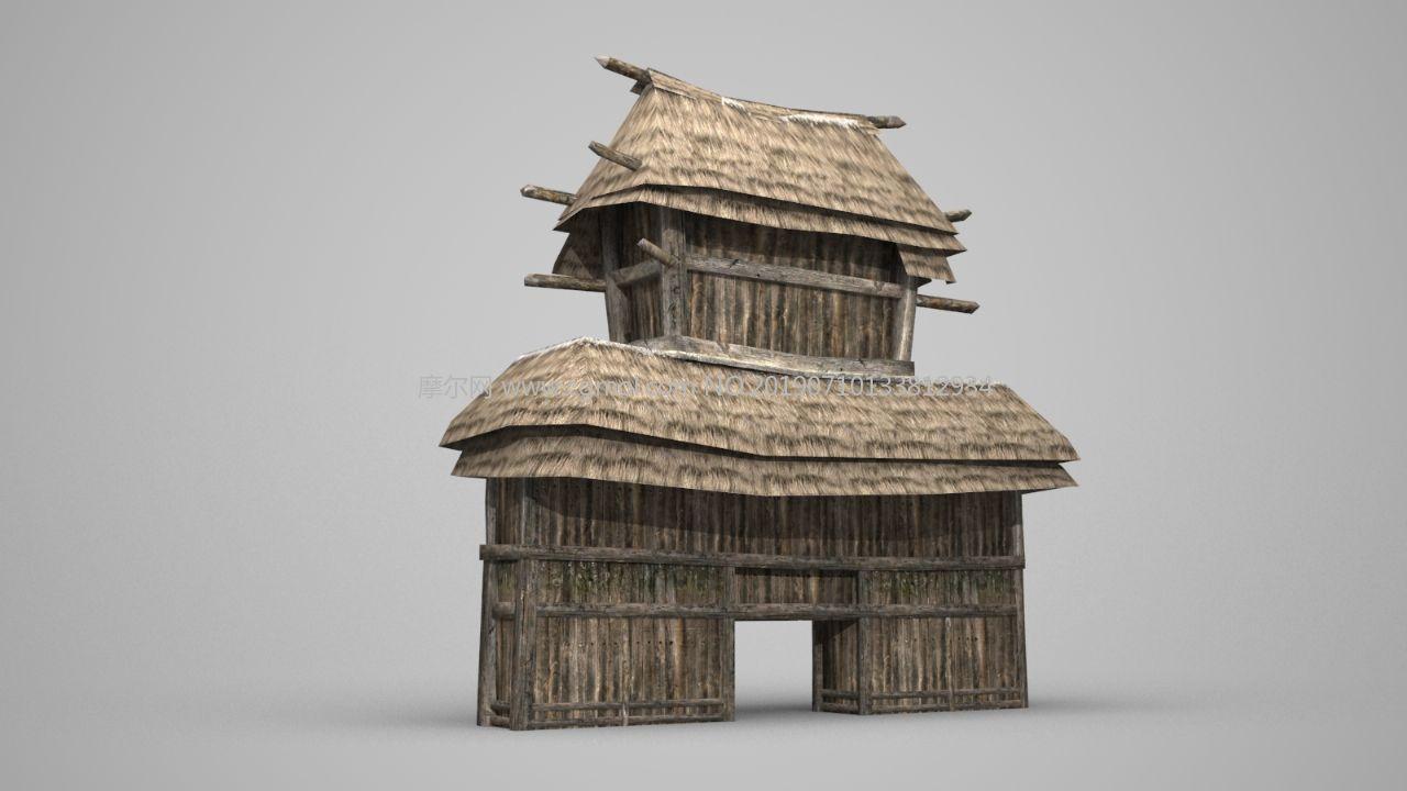 古代塞子茅草大门3D模型,山寨大门