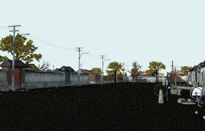 中国村镇的一个街道maya模型,带完整贴图