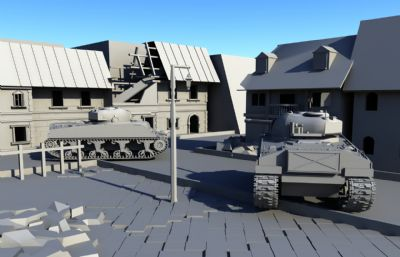 城镇坦克入侵场景,二战maya场景