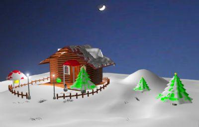 夜晚雪地小木屋�鼍�,圣�Q小屋maya模型