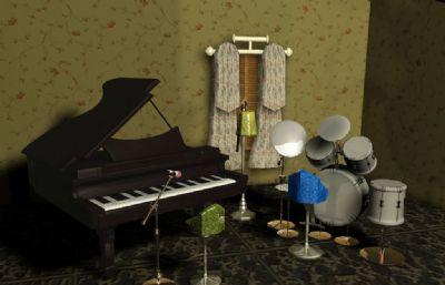 室內鋼琴架子鼓Maya場景,帶材質貼圖