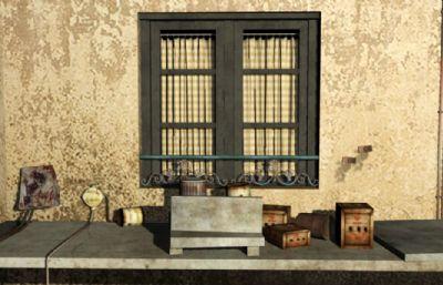 废旧生锈的窗台maya模型,有贴图